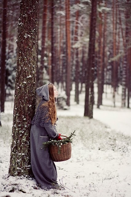basket, forest, girl, snow, tree