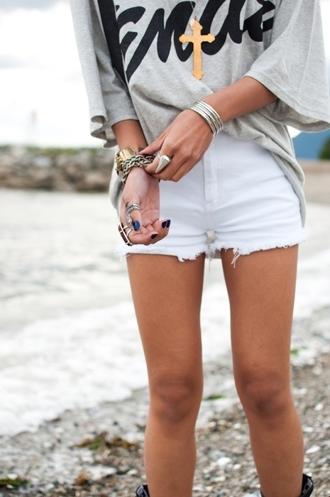 beach, bracelets, cross, denim, fashion, legs, rings, shorts, skinny, style, t-shirt, thin