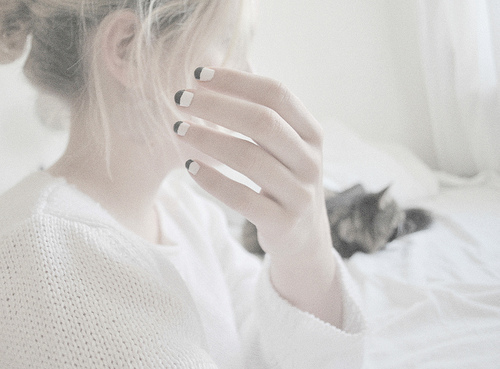 beautiful, black, cat, cute, fashion, girl, hair, light, love, nail polish, photo, photography, pink, pretty, vintage, white