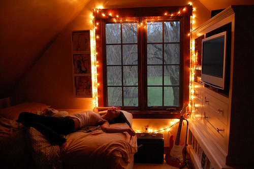 bedroom girl lights room window image 177885 on