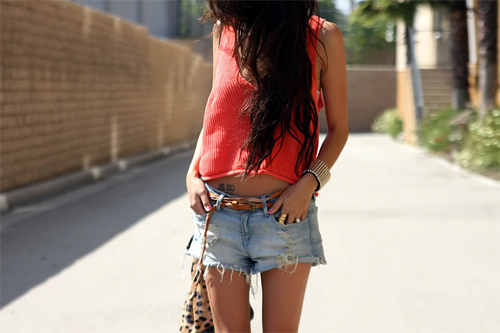 belt, denim, fashion, girl, hair, rings, shorts, skinny, stomach, style, tan, thin