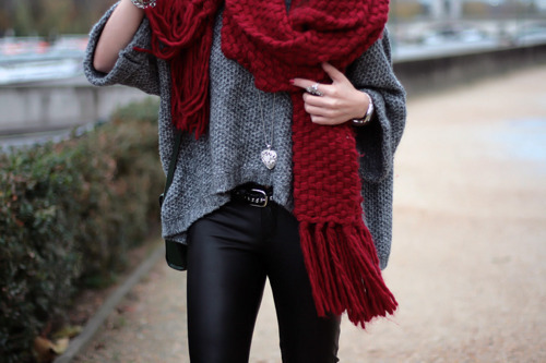 belt, fashion, heart, knit, leather, leather pants, necklace, red, rings, scarf, style, sweater, watch