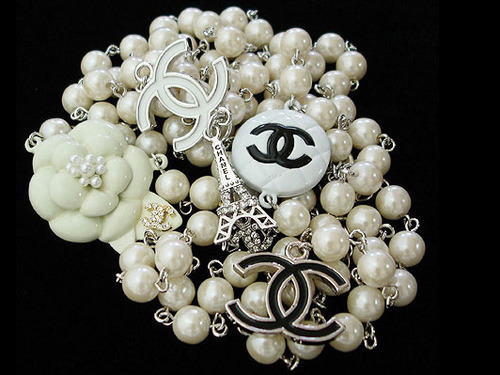 black and white, chanel, chic, pearls