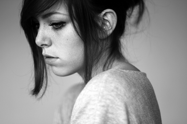 black and white, eye, eyeliner, girl, hair