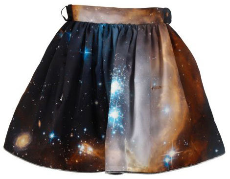 blue, fashion, galaxy, galaxy skirt, orange