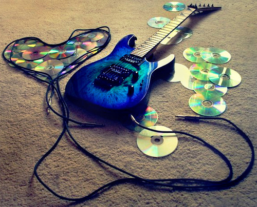blue, guitar, music