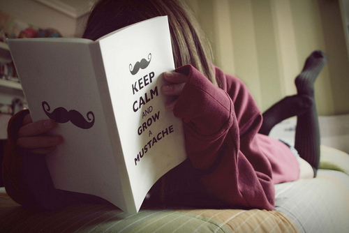 book, girl, keep calm, mustache