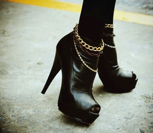 booties, chains, fashion, heels, peep toe booties