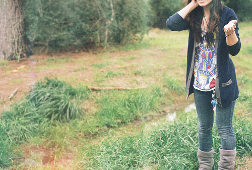 boots, brunette, cardigan, cute, fashion, girl, hair, nature, outdoors, outfit, photography, pretty, sweater