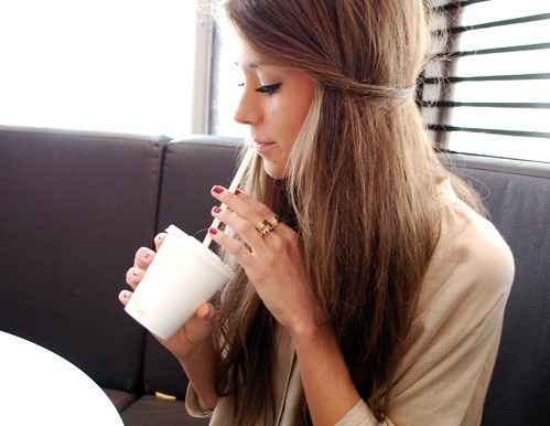 brown, cup, drink, girl, hair, marianna, pretty, rings