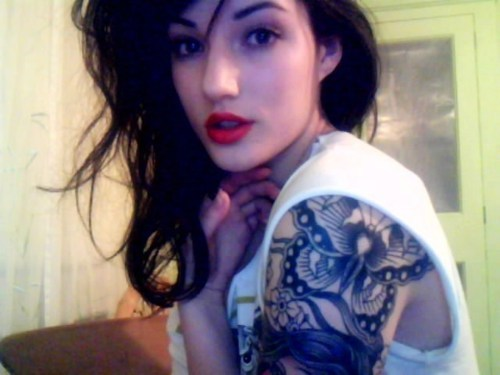 brunette, fashion, girl, lips, red lipstick, tattoo