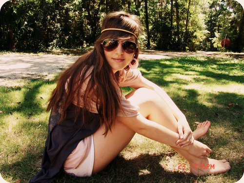 brunette, girl, glasses, grass, headband