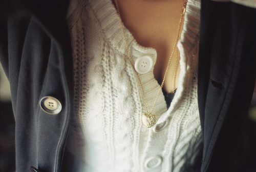 buttons, cozy, fashion, gold, heart, jacket, necklace, sweater, warm, winter