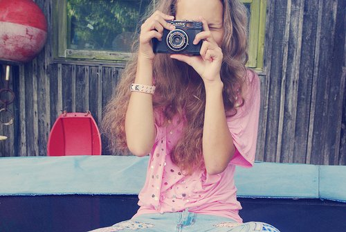 camera, curly hair, fallie, film camera, girl