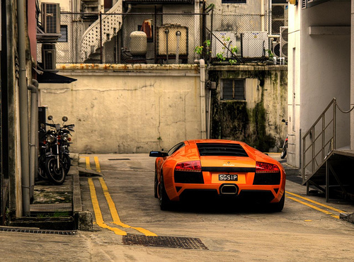 car, city, lamborghini, lamborghini orange, machine