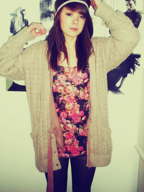 cardi, cute, fashion, floral, girl