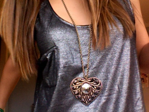 cute, fashion, girl, heart, necklace, shiny, silver