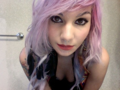 cute, girl, pink, purple, purple hair