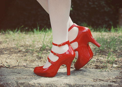 melissa, red, shoes