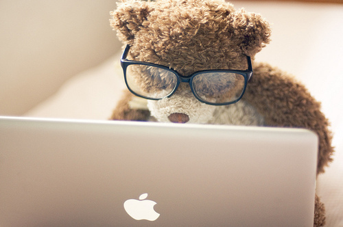 adorable, awesome, bear, cute, glasses, laptop, mac, teddy