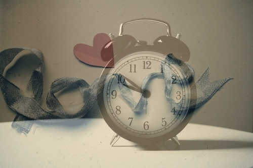 alarm clock, clock, heart, love, ribbon