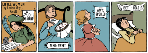 alcott, amy, beth, books, comics, dead, little women, meg, smart, spoiled, sweet