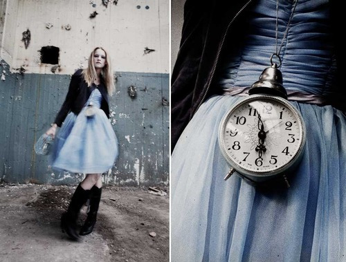 alice in wonderland, anna malmberg, blue dress, clock, fashion, girl, paris, photo, photographer, photography, swatch, swedish