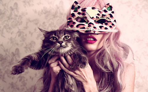 audrey kitching, cat, girl, girls and cats, mask, masquerade