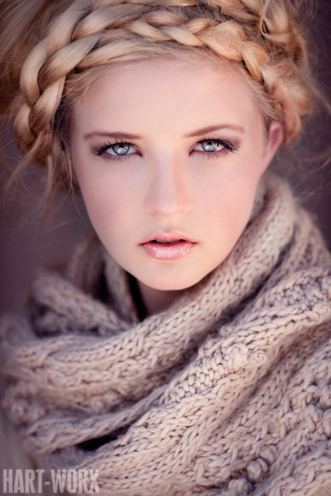 beautiful, blonde, braids, girl, sweater