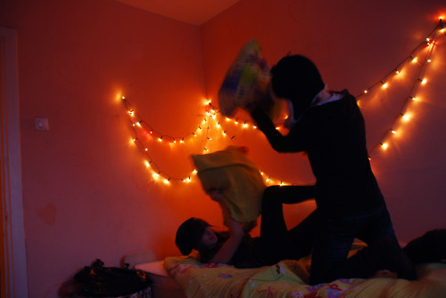 bed, by leen, fun, girl, lights