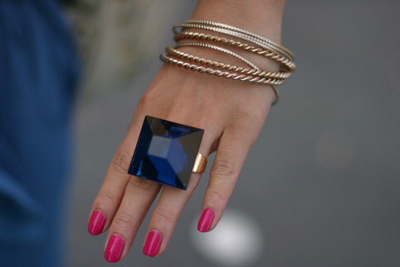 big ring, blue, fashion, hand, nails
