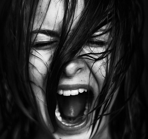 black and white, fear, kid, scream, stress, wet