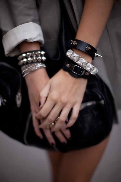 black, bracelet, fashion, jewellery, rock, silver, style