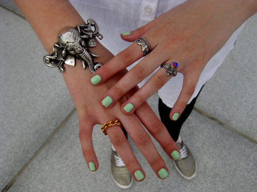 bracelet, elephant, fashion, girl, hands, mint nail polish, rings