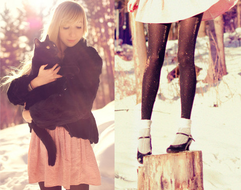 cat, fashion, girl, kitten, snow, tights, vintage, winter