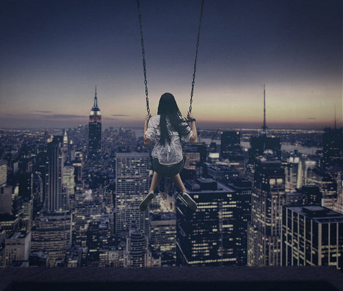 city, fantasy, girl, glider, night, photography, skyline, swing