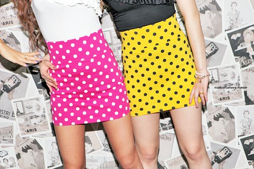 colourful, polkadots, skirts