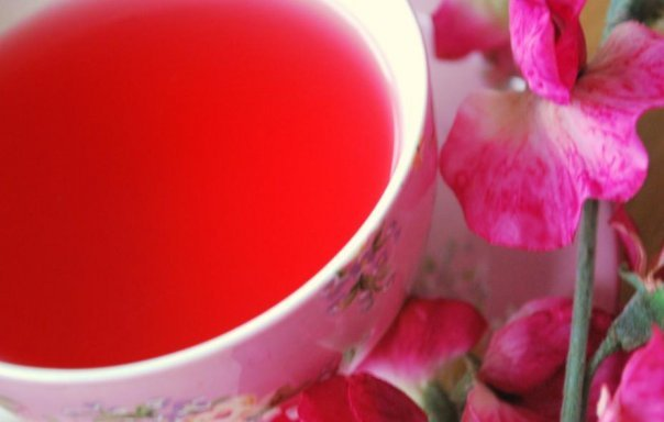 cup, cute, floral, flowers, pink, red tea, strawberry, strawberry and cream, strawberry and cream tea, tea, teacup, yummy