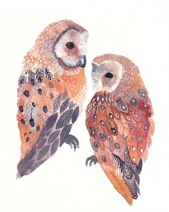 etsy, owl, painting, watercolor - image #178897 on Favim.com