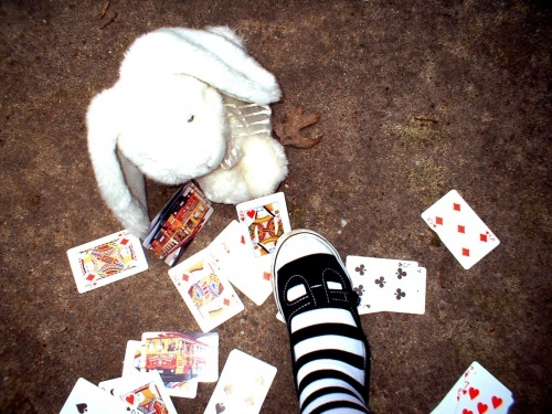 alice, alice in wonderland, bunny, cards, foott