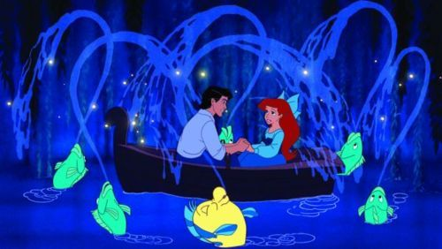 ariel, boat, cartoon, cute, disney, fish, kiss, kiss the girl, little mermaid, love, princess, prnice