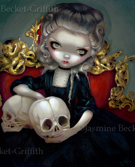 art, cute, dark, drawing, gothic, jasmine toad, lowbrow, macabre, oil painting, painting, vampire