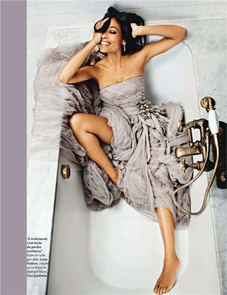 atomic girl, bathtub, december 2010, dress, fabric, fabrice trombert, gold, gray, madame figaro, rosario dawson, swimming, tulle