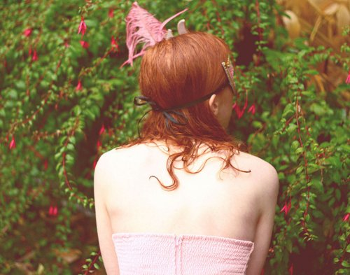 beautiful, dress, feather, girl, mask, masquerade, pink, pretty, red head