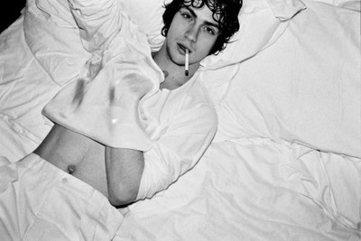 bed, black and white, boy, cigarette, cute