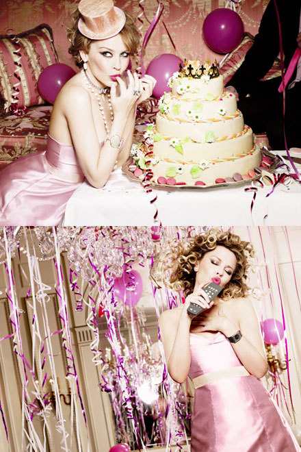 birthday, cake, fashion, girl, kylie, magic, minogue, party, photoshoot, pink