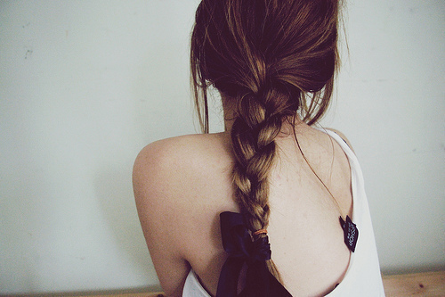black, blond, blonde, bow, braid