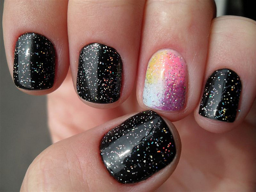 black, blooms, fashion, glitter, nails
