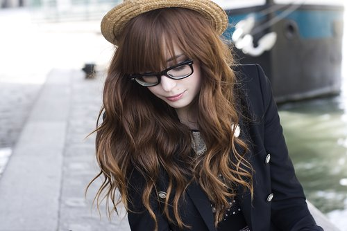blazer, fashion, girl, glasses, hair