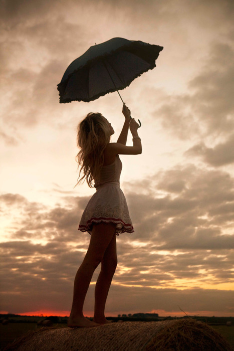 blonde, cute, dress, feet, girl, happy, love, photography, pretty, red, sky, sunset, umbrella, white